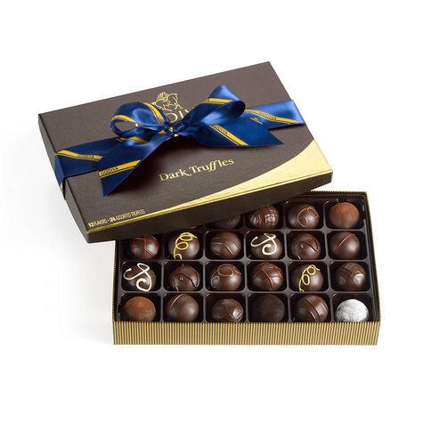 Dark Chocolate Truffles, Striped Tie Ribbon, 24 pc.