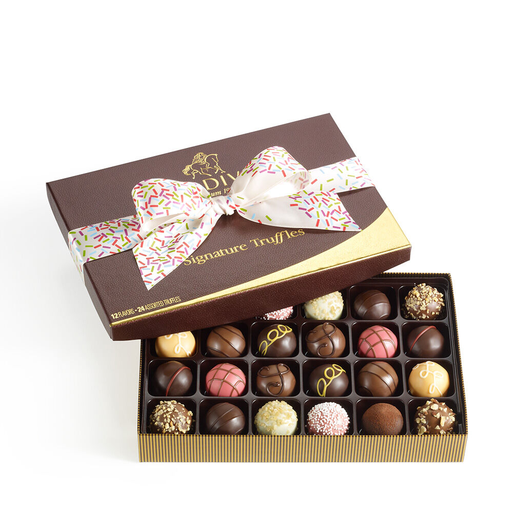 Signature Truffles Gift Box, Celebration Ribbon, 24 pc.