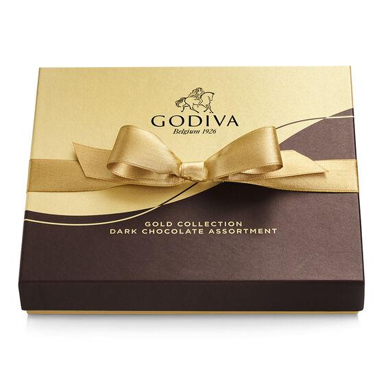 Dark Chocolate Gift Box, Gold Ribbon, 15 pc. image number null