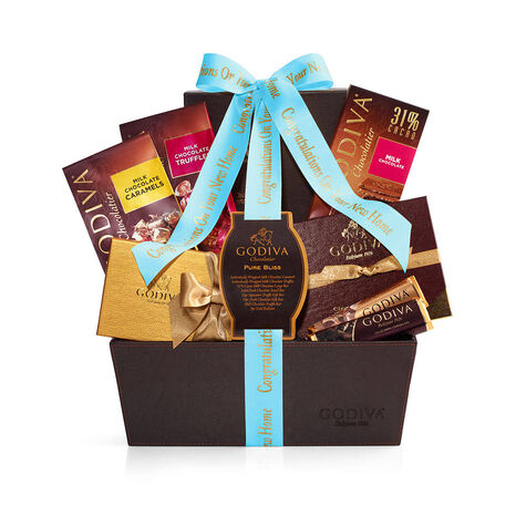 Chocolate Celebration Gift Basket, Personalized Sea Blue Ribbon