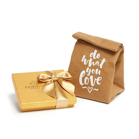 Cooler Lunch Bag with Gold Chocolate Gift Box, 19 pc.