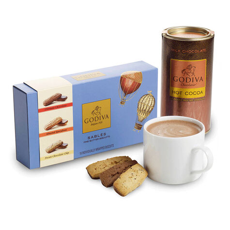 18 pc. Assorted Sablés Gift Box and Milk Cocoa Gift Set