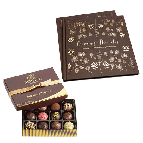Giving Thanks Book & Signature Truffles Gift Box, 12 pc.