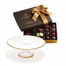 Dessert Pedestal with Dark Chocolate Assortment Gift Box, 27 pc.