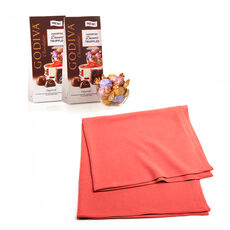 Coral Shawl with Wrapped Assorted Chocolate Dessert Truffles, Set of 2
