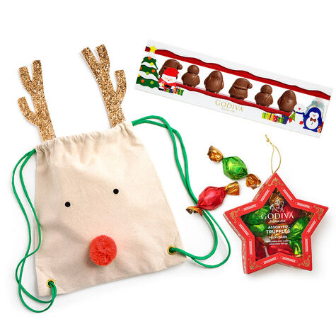 Chocolate Winter Characters, 6 pc. Chocolate-Filled Star Ornament & Reindeer Backpack