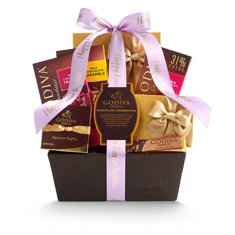 Chocolate Celebration Gift Basket, Personalized Light Orchid Ribbon