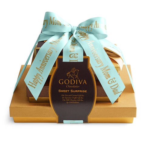 Sweet Surprise Gift Tower, Personalized Aqua Ribbon