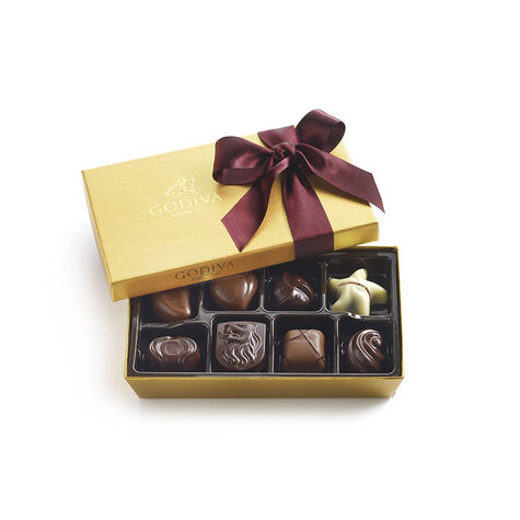 Assorted Chocolate Gold Gift Box, Wine Ribbon, 8 pc.