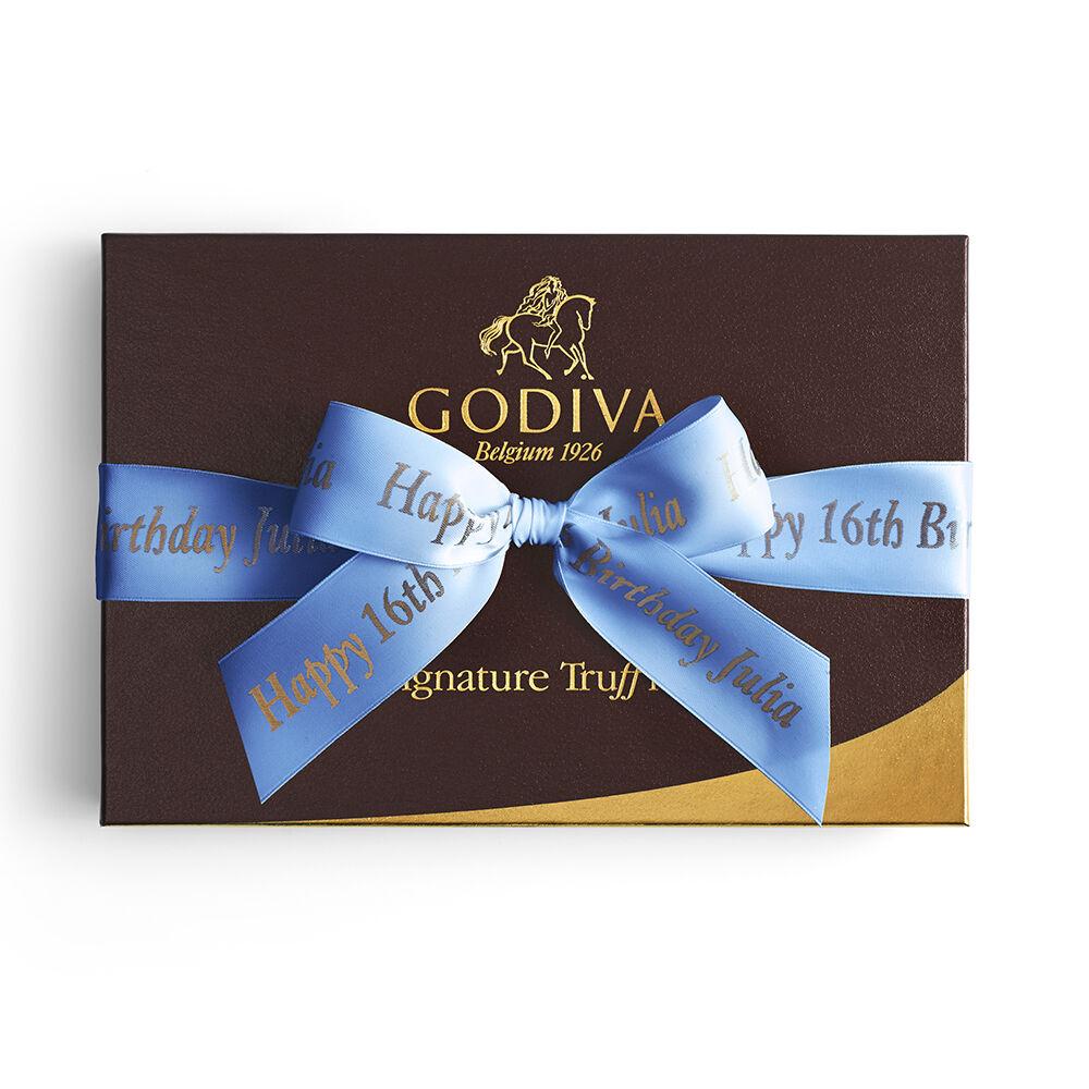 Signature Truffles Gift Box, Personalized Royal Blue Ribbon, 24 pc.