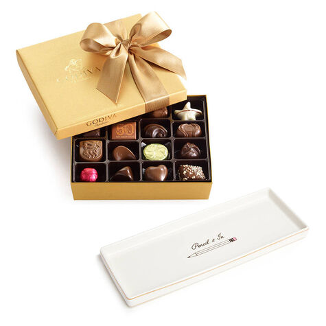 Pencil It In Tray with Assorted Chocolate Gold Gift Box, 19 pc.
