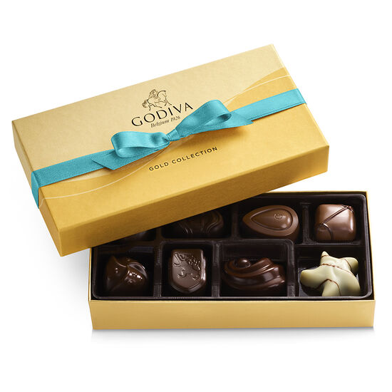 Assorted Chocolate Gold Gift Box, Blue Ribbon, 8 pc. image number null