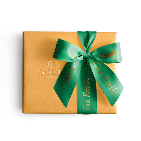 Assorted Chocolate Gold Gift Box, Personalized Forest Green Ribbon, 19 pc.