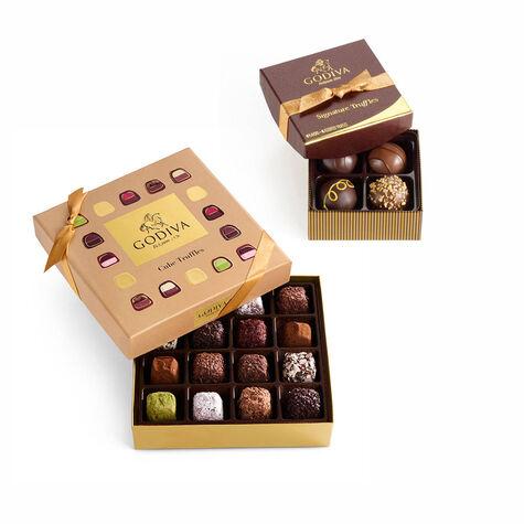 Cube Truffles Gift Box, 16 pc. & Signature Chocolate Truffles, 4 pc.