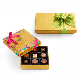 Chocolate Festival Gift Box, 9 pc & Assorted Chocolate Gold Gift Box, Spring Ribbon, 8 pc.
