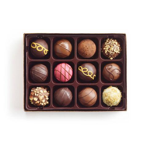 Signature Truffles Gift Box, Personalized Peach Ribbon, 12 pc.