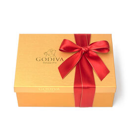 Assorted Chocolate Gold Gift Box, Red Ribbon, 105 pc.