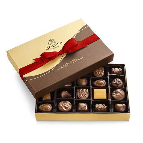 Milk Chocolate Candy Gift Box, Red Ribbon, 22 pc.