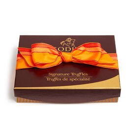 Signature Truffle Gift Box, Orange Stripe Ribbon, 12 pc.