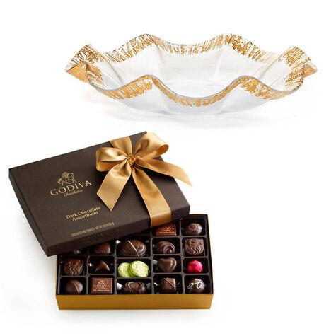 Rufolo Glass Bowl with Dark Chocolate Assortment Gift Box