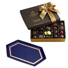 Navy Serving Tray with Dark Assorted Chocolates Gift Box, 27 pc.