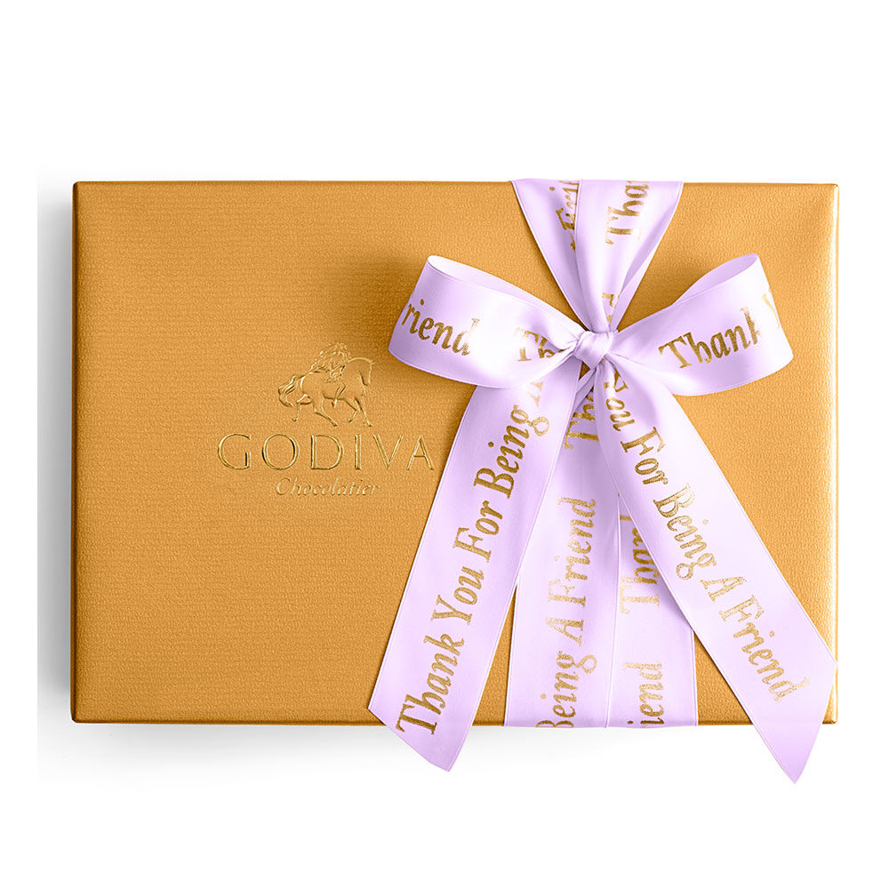 Assorted Chocolate Gold Gift Box, Personalized Light Orchid Ribbon, 36 pc.