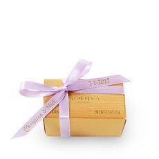 Assorted Chocolate Gold Favor, Personalized Light Orchid Ribbon, 2 pc.