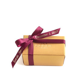 Assorted Chocolate Gold Favor, Personalized Wine Ribbon, 2 pc.