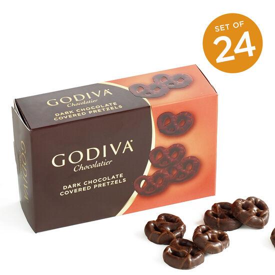 Dark Chocolate Covered Mini Pretzels, Set of 24 image number null