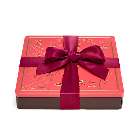 Assorted Chocolate Biscuit Tin, Wine Ribbon, 46 pc.