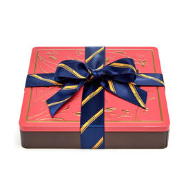 Chocolate Biscuit Tin, Striped Tie Ribbon, 46 pc.