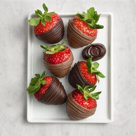Milk & Dark Chocolate Covered Strawberries, Half Dozen