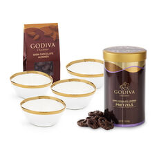 Gold Trim Bowls with Dark Chocolate Covered Pretzels & Almonds, Set of 4