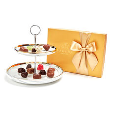 Tiered Marbleized Pedestal with 36-pc Assorted Chocolate Gift Box