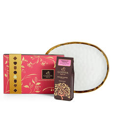 Oval Platter with Assorted Biscuit Gift Box and Chocolate Truffle Coffee