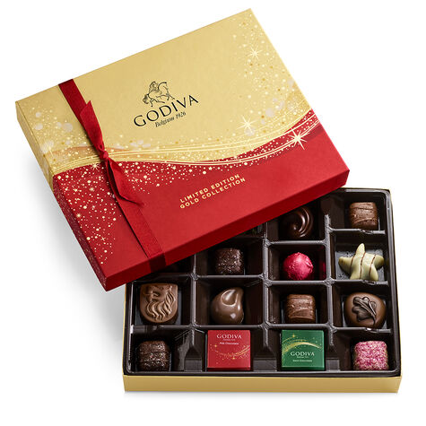 Assorted Chocolate Seasonal Gift Box, 16 pc. and Chocolate-Filled Star Ornament