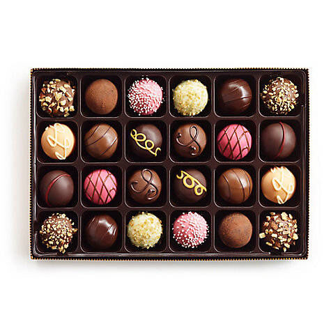 Signature Chocolate Truffles Gift Box, Personalized Navy Ribbon, 24 pc.