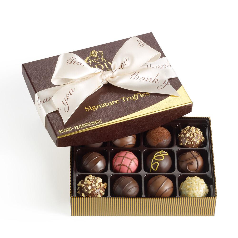 Signature Truffles Gift Box, Thank You Ribbon, 12 pc.
