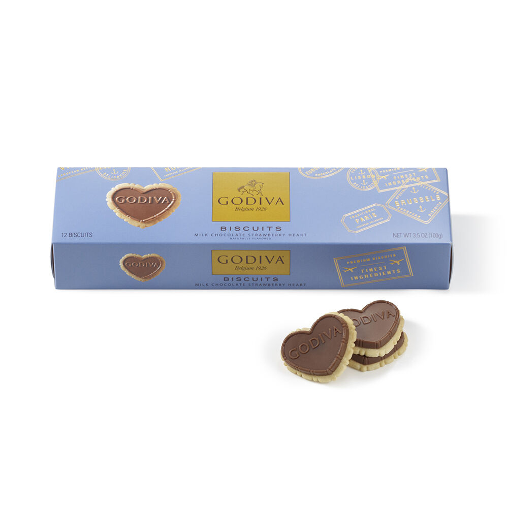 Strawberry Milk Chocolate Biscuits, 12 pc.
