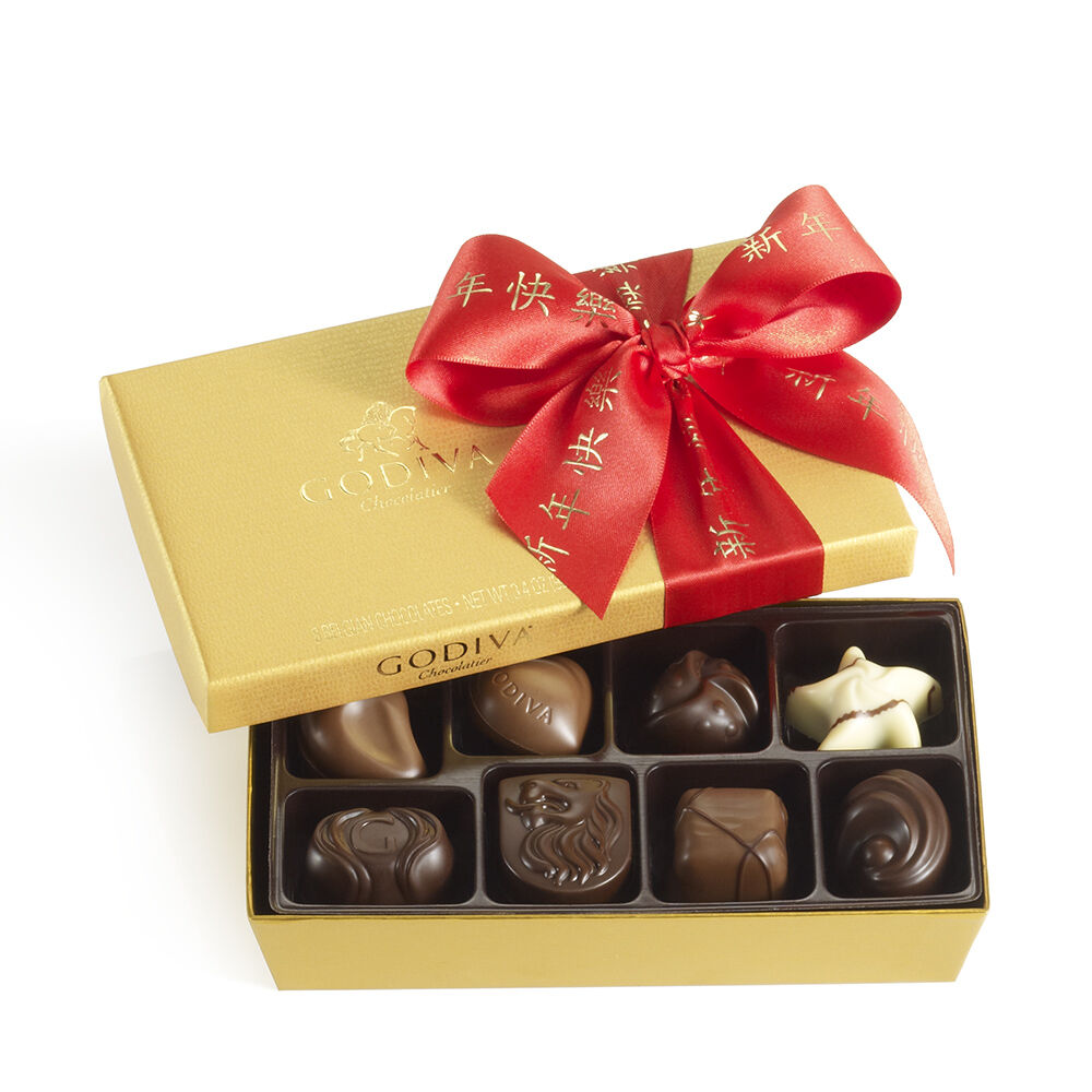 Assorted Chocolate Gold Gift Box, Chinese New Year Ribbon, 8 pc.