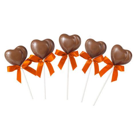 Milk Chocolate Heart Lollipops (Set of 5)
