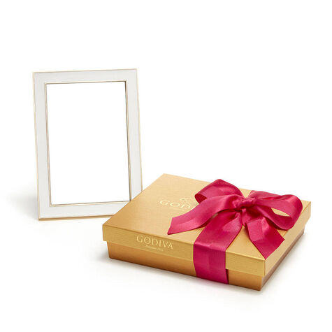 White & Gold Enamel Picture Frame, 4x6 & Assorted Chocolate Spring Gift Box,19 pc.