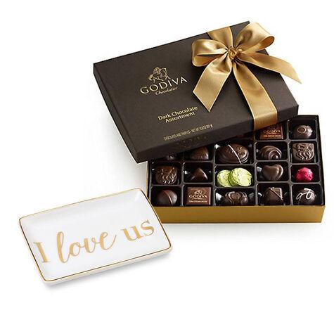I Love Us Tray with Dark Assorted Chocolates Gift Box, 27 pc.