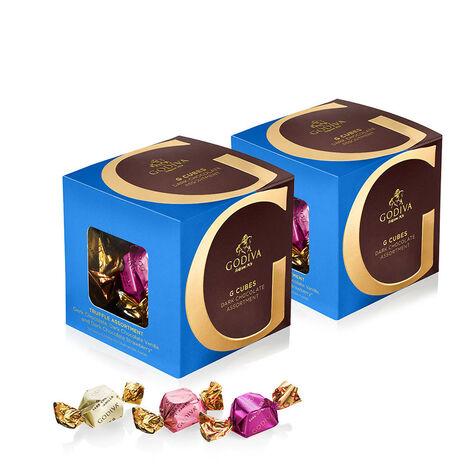 Dark Chocolate Assortment G Cube Box, Set of 2, 22 pcs. each