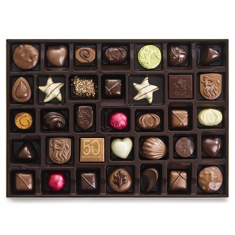 Assorted Chocolate Gold Gift Box, Striped Tie Ribbon, 70 pc.