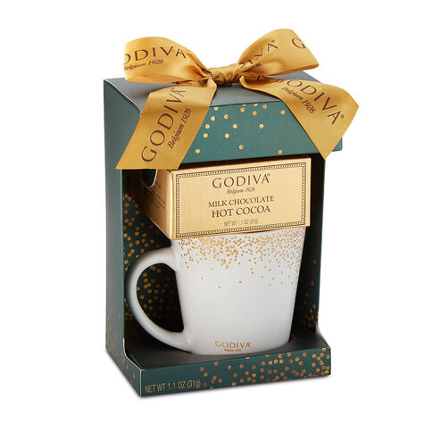Milk Chocolate Hot Cocoa and Godiva Mug, Green with Gold Ribbon