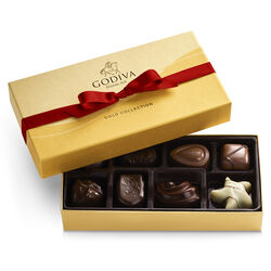 Assorted Chocolate Gold Gift Box, Red Ribbon, 8 pc.