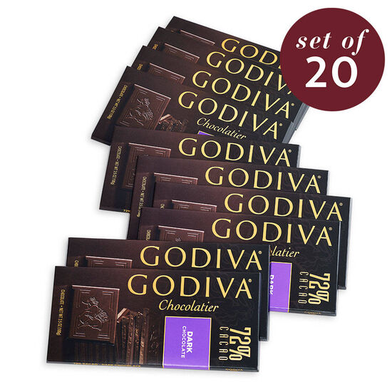 Large 72% Dark Chocolate Bar, Set of 20 image number null
