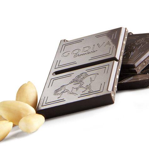 Large 72% Dark Chocolate with Almond Bar, Set of 10