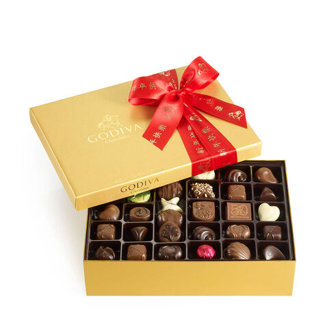 Assorted Chocolate Gold Gift Box, Chinese New Year Ribbon, 70 pc.